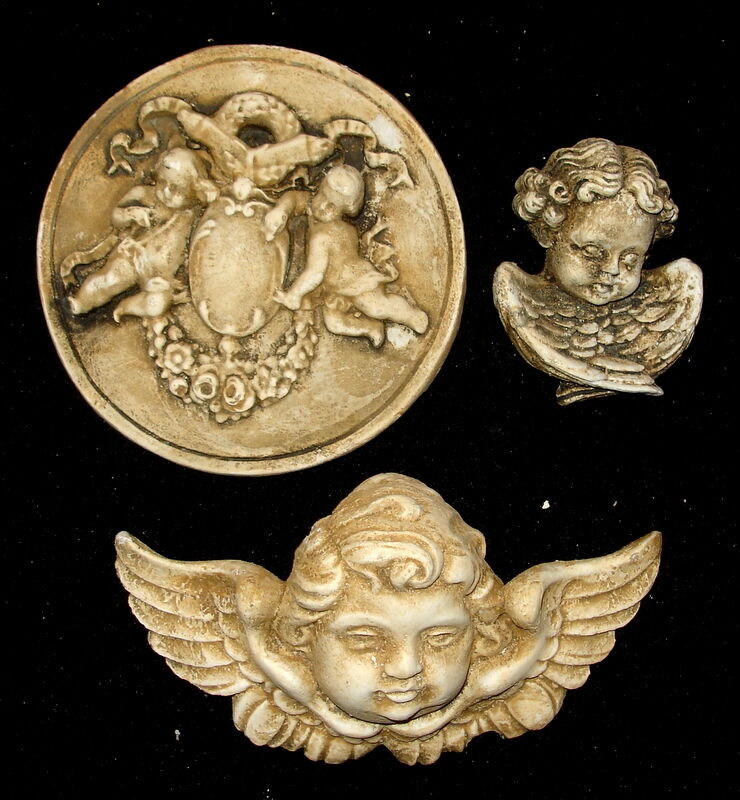 Clearance Set of 3 Vintage Angels Cherubs Wall Decor Antique Finish ...
