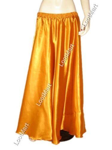 Belly Dance Orange Satin Half Circle Skirt Costume Tribal Elastic Jupe 27 Colors