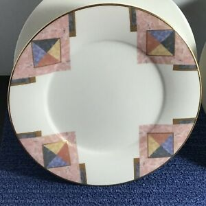 4-Noritake-MOMENTUM-Fine-China-8-1-4-034-Salad-Plates-Pink-Blue-Gold-Trim-7734