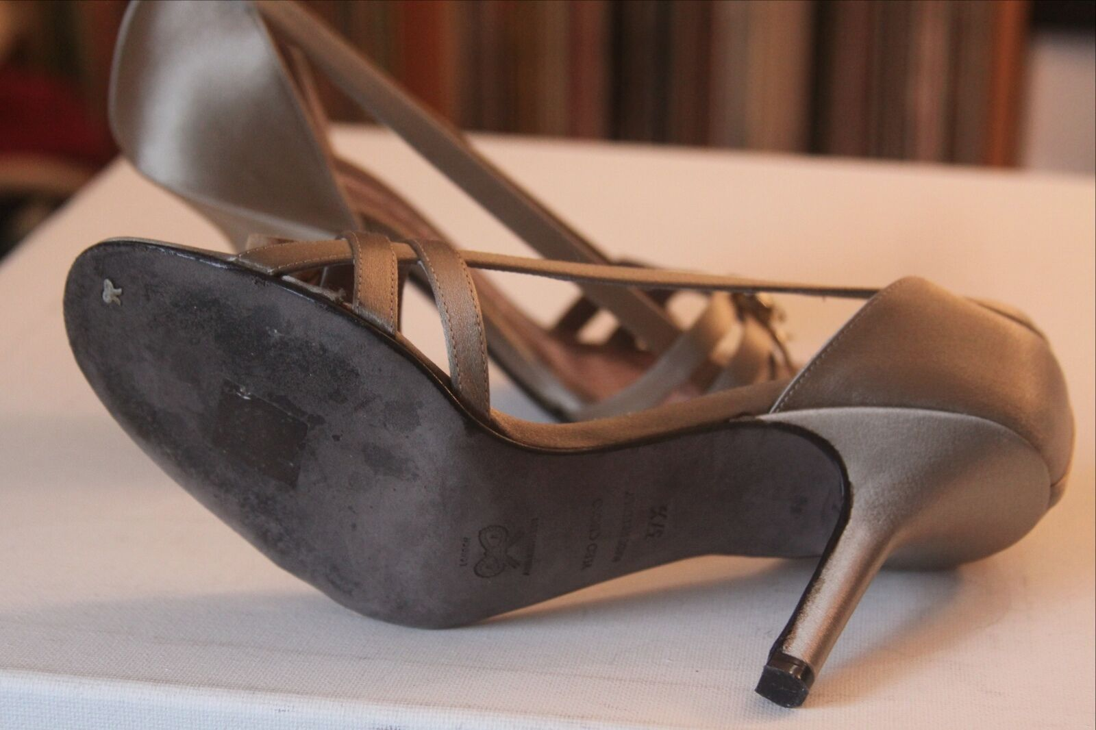 Anya Hindmarch Taupe Fabric Open Toe  Heels Größe 37.5 Made In  Toe c5aded