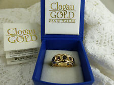 Early Rare Design Clogau Welsh Gold, 9ct Yellow Gold Garnet Ring, size M 1/2