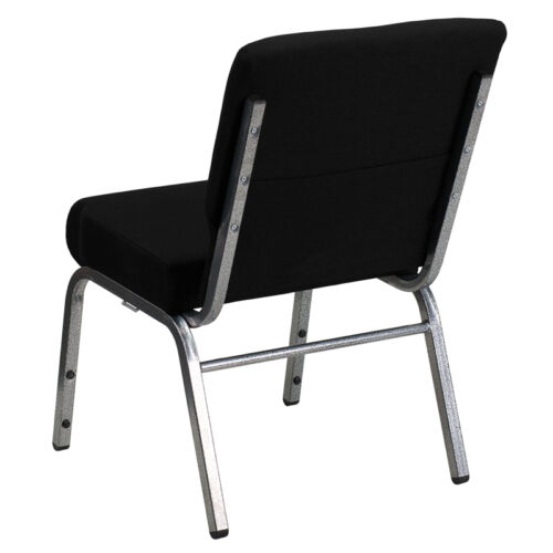 SILVER VEIN FRAME 21/'/' EXTRA WIDE BLACK FABRIC STACKING CHURCH CHAIR