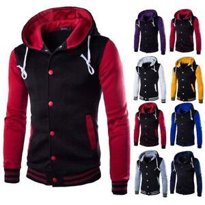 a145310ad9 Details about Men's Winter Hoodie Outwear Sweater Warm Coat Baseball Jacket  Hooded Sweatshirt