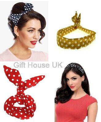 polka dot print bow headband Hair Band UK SELLER various colours  6 STYLES