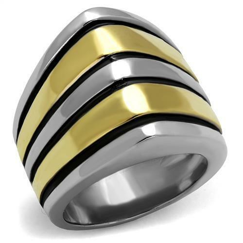 Women's Two Tone Yellow Gold Ion Plated Classy Fashion Ring No Stone TK2367