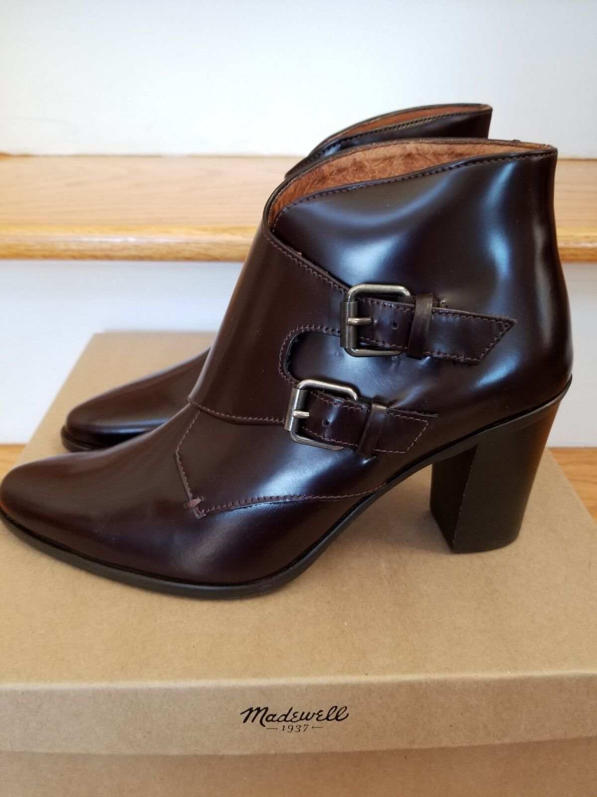 NEW IN BOX MADEWELL MILO MILO MILO SMOOTH CALF MONK STRAP BOOT BURGUNDY SIZE 8.5 272736
