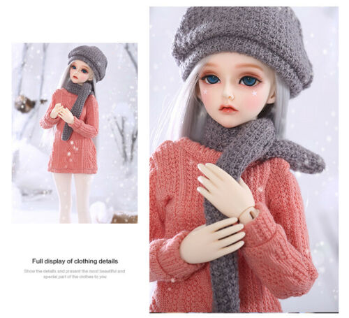 1//4 Minifee D BJD Outfit Clothes Knitted Suit Casual Sweater+Scarf+Hat 3 Pcs Set