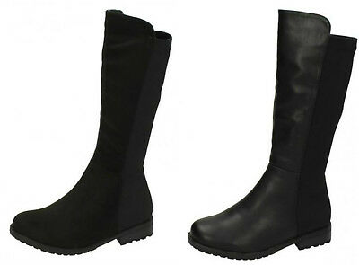 H5083- Girls Mid Calf Black Fashionable Boots- PU & Microfibre- Great Price!
