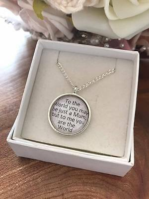 Personalised 'MUM you are the world' Quote PENDANT NECKLACE Thoughtful Mum gift