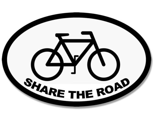 3x5 inch WHITE Oval SHARE THE ROAD Sticker decal bike ride cycle cycling bumper