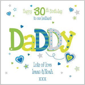 Personalised 30th birthday card daddy dad grandad any namemessage image is loading personalised 30th birthday card daddy dad grandad any bookmarktalkfo Images