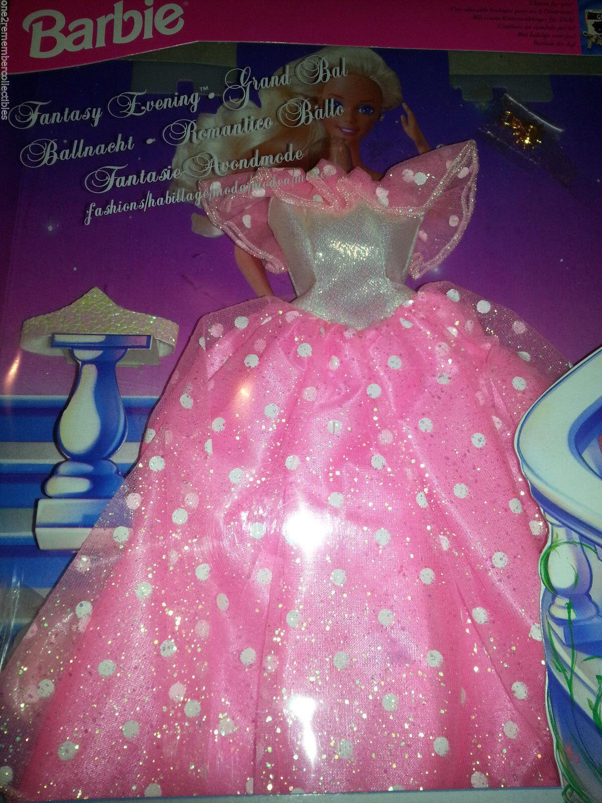 Barbie Fantasy Abendkleid Krone Schuhe Outfit Kleidung 1994 Mattel Grand Ball
