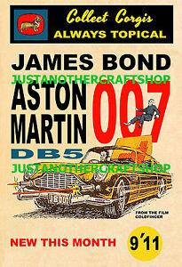 CORGI-TOYS-261-James-Bond-Aston-Martin-DB5-A4-dimensione-Poster-Pubblicita-Segno-illustrativo