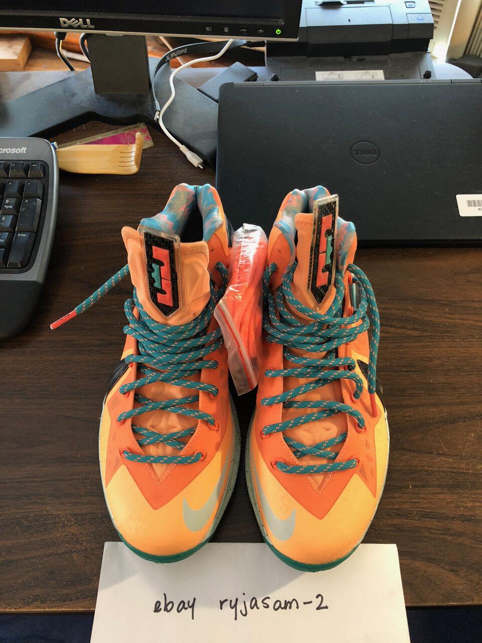Nike Lebron X 10 Elite PE Shooting Stars Peach Jam Mens Sz 8.5 USED