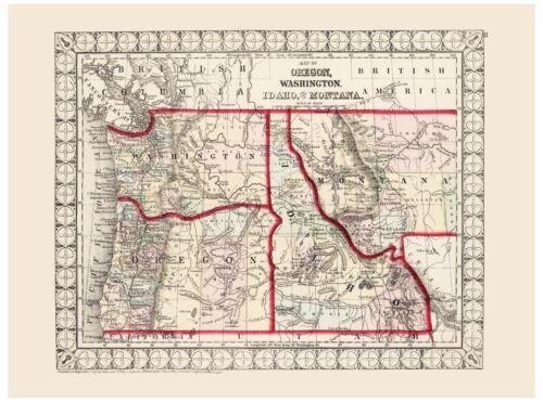 Old Vintage Map of Oregon Washington Idaho and Montana Mitchell 1874