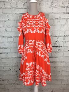 WHISTLES-Red-Orange-White-Floral-Print-Cold-Shoulder-Dress-Womens-Size-10
