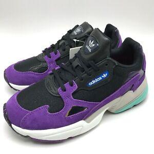 Details about Adidas Originals Falcon W Women's Running Shoes  Black/White/Purple CG6216