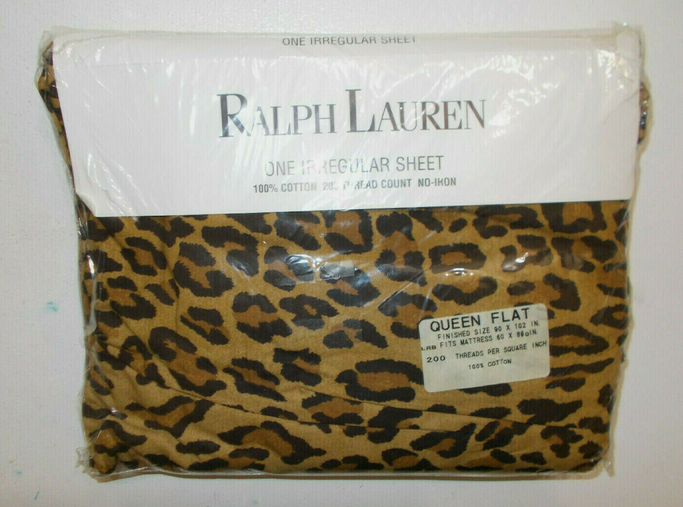 RALPH LAUREN Aragon Neutral Leopard Queen Flat Sheet Guinevere Galahad IRREGULAR