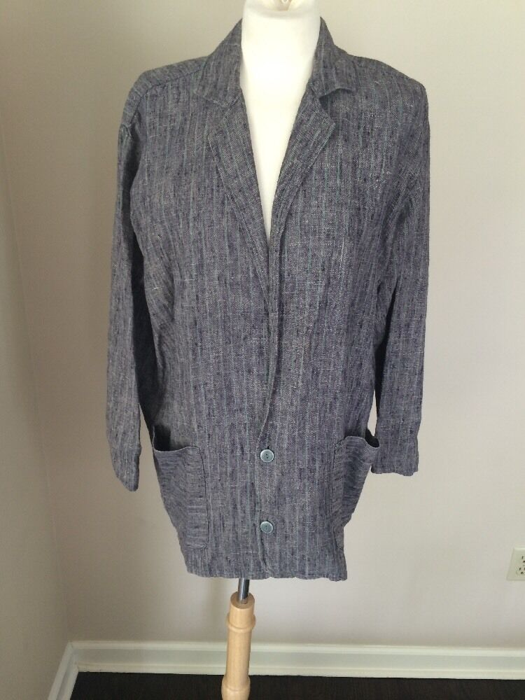 FLAX by Engelhart Sz S Blau & Grün Stripe Boxy Long Jacket Coat Lagenlook EUC