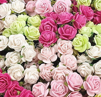100 Mini Paper Flowers Wedding Rose Doll House Gift Basket Craft Supply R2-624