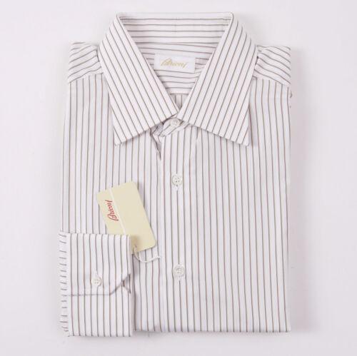 495 75 15 € Verspreide Brioni Gestreept bruin kraag tan overhemd 35 Wit X mnNwPy80vO
