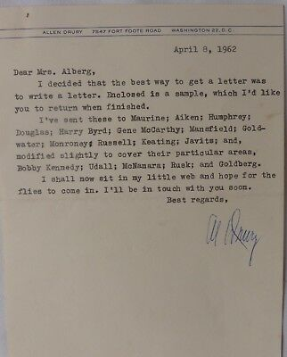 Allen Drury Signed Letter,april 8 1962 At All Costs Entertainment Memorabilia