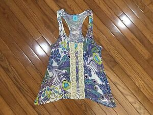 HIP-Happening-In-The-Present-Watercolors-Women-039-s-Tank-Sleeveless-Top-Blouse-Sz-S