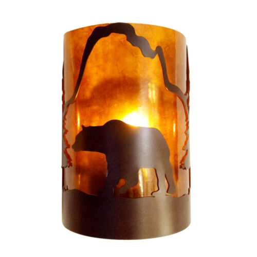 Bear Silhouette Mica Wall Sconce Light Cottage Cabin Lodge Country Lighting