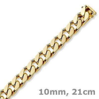 Der GüNstigste Preis 10mm Armband Armkette Panzerkette Aus 585 Gold Gelbgold Massiv 21cm, Goldarmband