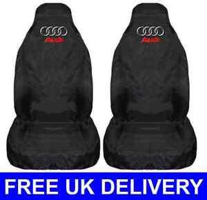 NEW BLACK CAR SEAT COVERS PROTECTORS PAIR X WATERPROOF FITS - Audi car seat