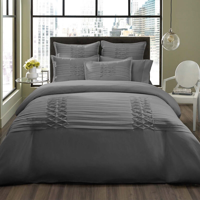 BEAUTIFUL MODERN ELEGANT grigio RUFFLE RUCHED TEXTURE SOFT DUVET COVER SET NEW