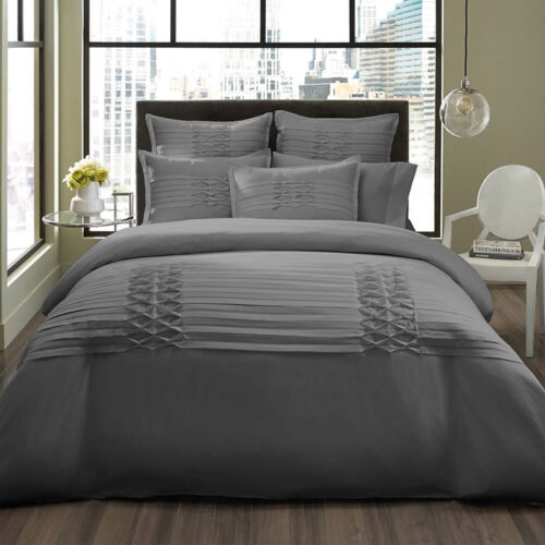 BEAUTIFUL MODERN ELEGANT GREY RUFFLE RUCHED TEXTURE SOFT DUVET COVER SET NEW!