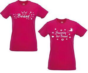 Lady Shirt Damen T-Shirt pink Security der Braut Junggesellinnenabschied für JGA