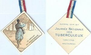 Insigne-de-journees-1914-1918-Journee-nationale-tuberculeux-soldat-depart-sana
