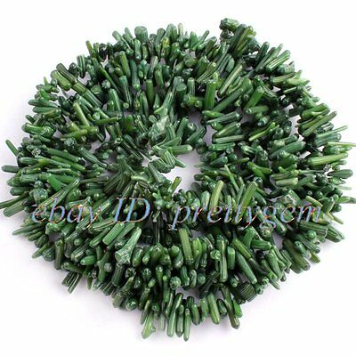 5-10MM BAROQUE STICK GREEN CORAL LOOSE JEWELRY GEMSTONE BEADS STRAND 34""