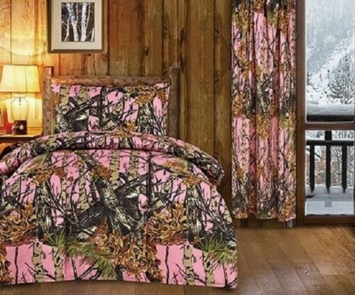 9 pc Twin size Woods Pink Camo comforter and sheet//pillowcase with curtains