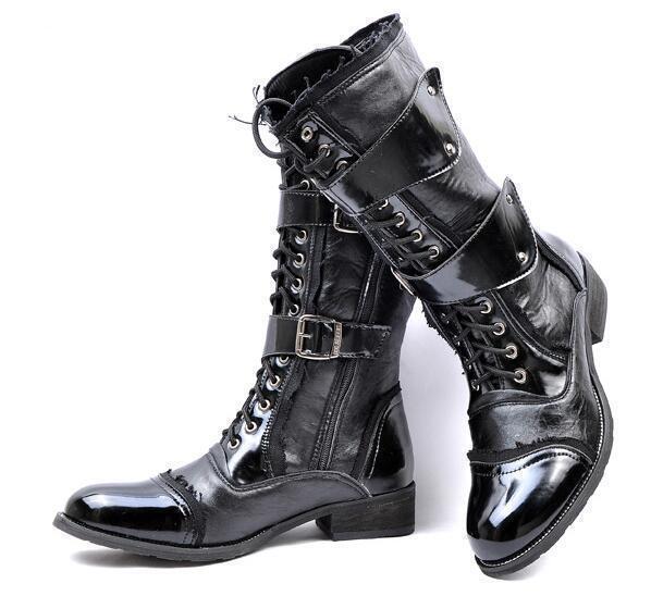 Hombres Punk Mitad de Pantorrilla Bota Con Cordones Combate Cuero Negro Gótico militares zapatos talla