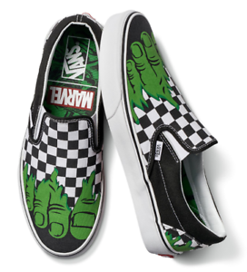 Details about Vans x Marvel Hulk Checkerboard Classic Slip-On Sneakers Men's Women's Shoes