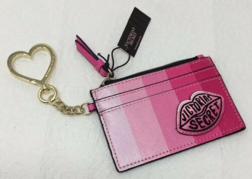 VICTORIA/'S SECRET Pink Striped Kiss Lips Logo  Patch Keychain Card Case NEW