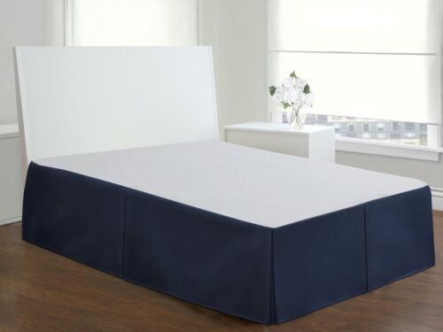 "Shams Sold Separately Cotton Blend Navy Poplin Tailored Bed Skirt 14/"" Drop"