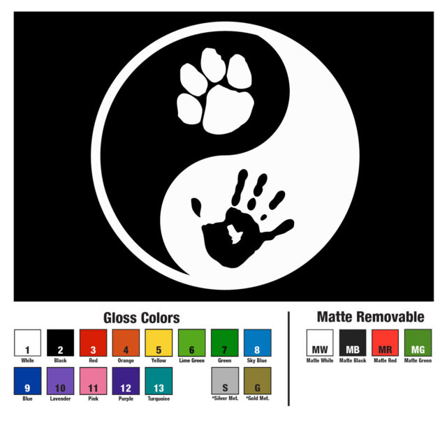 3 Inch YIN YANG PAW LOVE  Vinyl Decal Sticker Die Cut DOG CAT PEACE PET 098