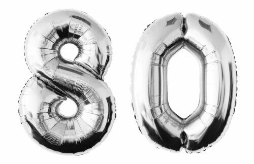 Folienballon 80 silber Zahlenballon Luftballon Zahl Party Hochzeit Geburtstag