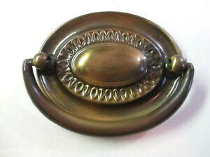 "Hepplewhite 1900s Drop Bail Pull Handle 2-1/2"" Centers Oval Dark Brass 1 Antique"