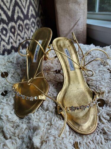 Gold Embellished Manolo Blahnik Heels