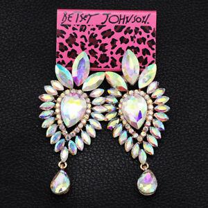 Betsey-Johnson-Earring-AB-Crystal-Rhinestone-Dangle-Earbob-Women-039-s-Jewelry-Gift