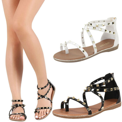 New Open Toe Gold Pyramid Studded Ankle Strap Strappy Flat Gladiator Sandal Shoe