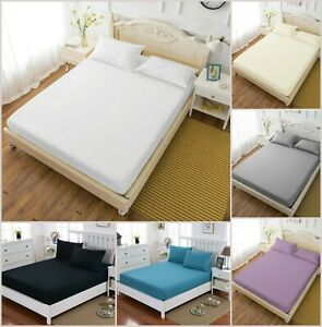 Extra-Deep-Fitted-Sheet-King-Single-Double-Super-King-Bed-Sheets-Egyptian-Cotton