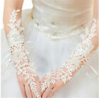 Women White Lace Rhinestone Wedding Long Fingerless Bridal Party Gloves
