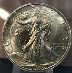 1946 D 50c Liberty Walking Half Dollar ANACS MS66