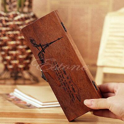 Retro Eiffel Tower Wood Wooden Pen Case Holder Stationery Pencil Box Storage New